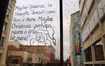 The Grinch's revelation, and the Madonna & Child, as seen from a skywalk in downtown Spokane.