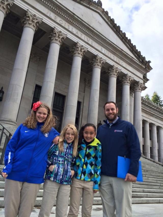 Students from Spokane International Academy at Washington Capitol