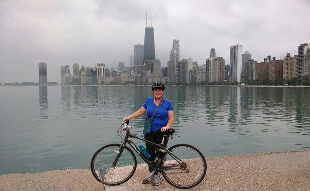 biking the shore of Lake Michigan in Chicago