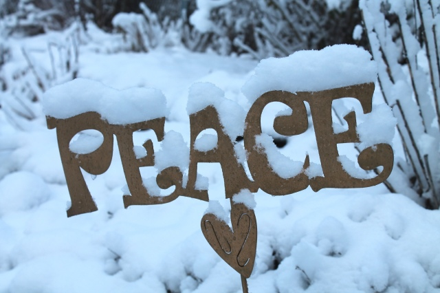a metal sign reading Peace is covered in snow