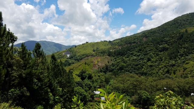 lush green farmed hills in Dominican Republic