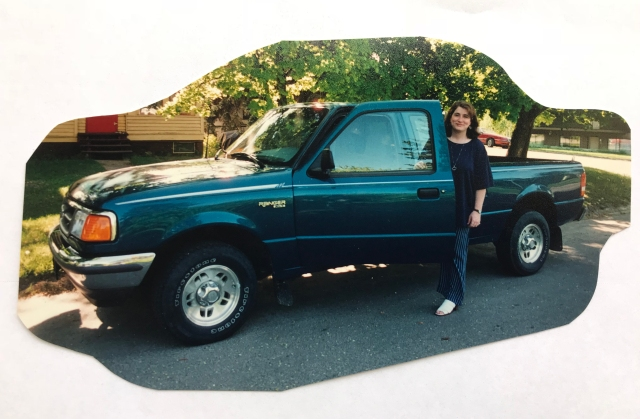 writer Kate Vanskike with her Ford Ranger, trekking to Spokane