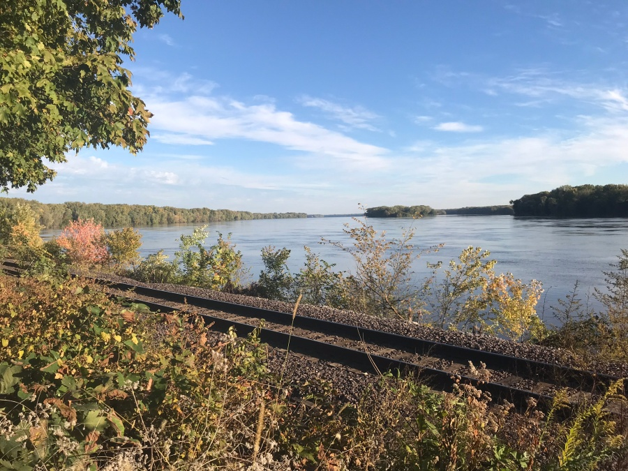 Mississippi river near train tracks in Hannibal Missouri